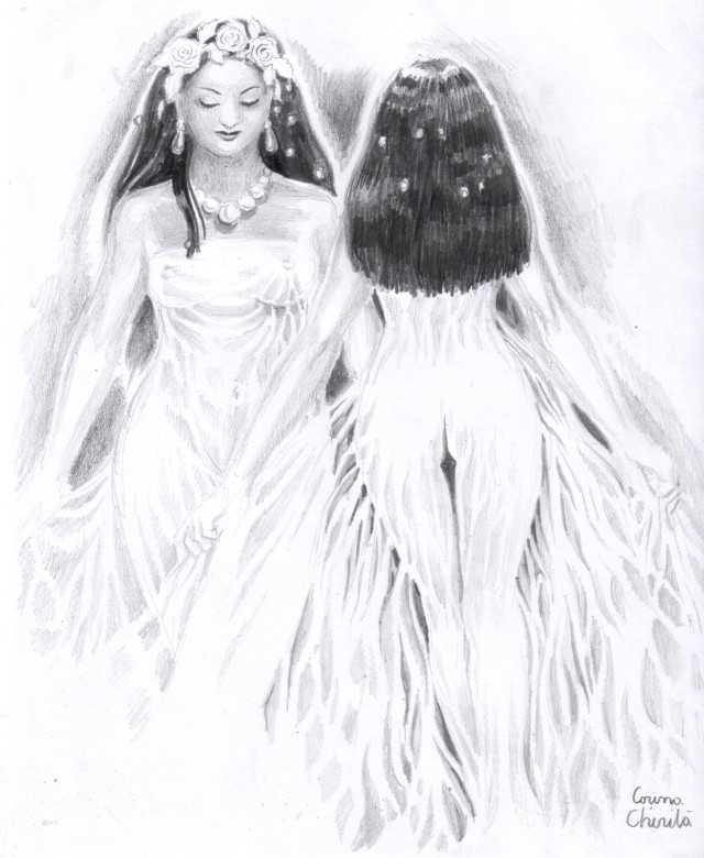 love-in-the-mirror-or-twins-bridal-pencil-drawing-iubire-in-oglinda-sau-clona-desen-in-creion-cu-mirese
