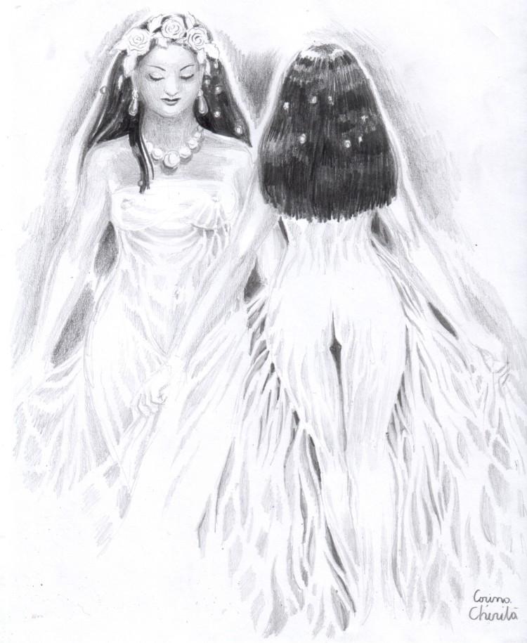 love-in-the-mirror-or-twins-bridal-pencil-drawing-iubire-in-oglinda-sau-clona-desen-in-creion-cu-mirese