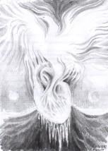 Pasarea Phoenix renascand dintr-o inima de gheata, desen in creion