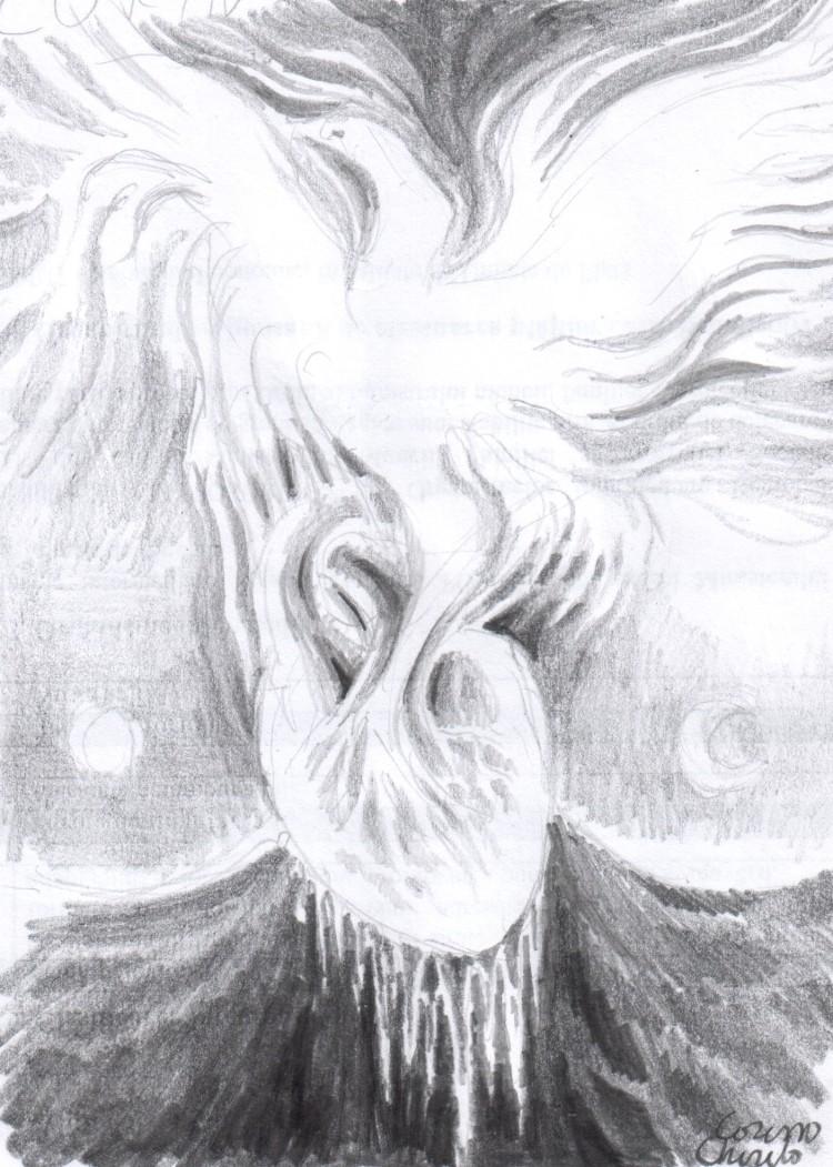 pasarea-pgoenix-renascand-din-inima-de-gheata-desen-in-creion-the-pgoenix-bird-and-the-frozen-heart-pencil-drawing