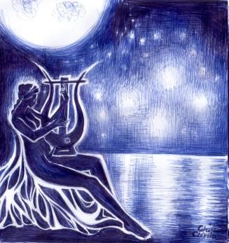 Poeta Sappho cu lira ei in lumina lunii privind Pleiadele, desen facut cu pixul
