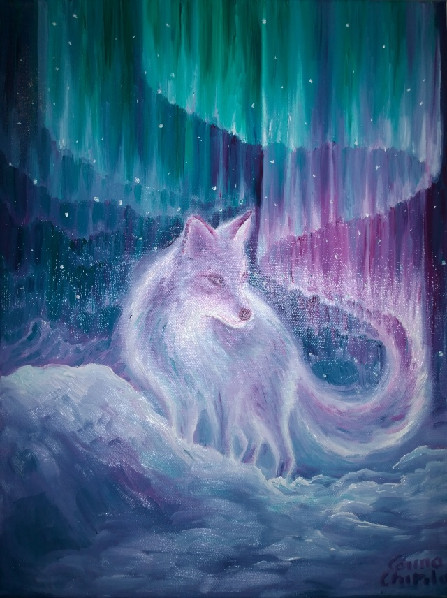 the-scandinavian-legend-of-aurora-borealis-the-polar-foc-oil-on-canvas-painting-legenda-nordica-a-aurorei-boreale-pictura-ulei-pe-panza