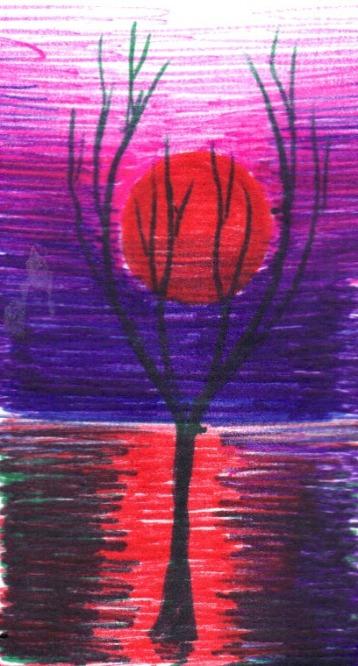 Copac in murg, desen facut cu pixul