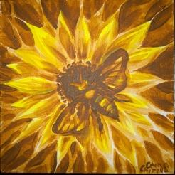 Floare galbena si albina, pictura