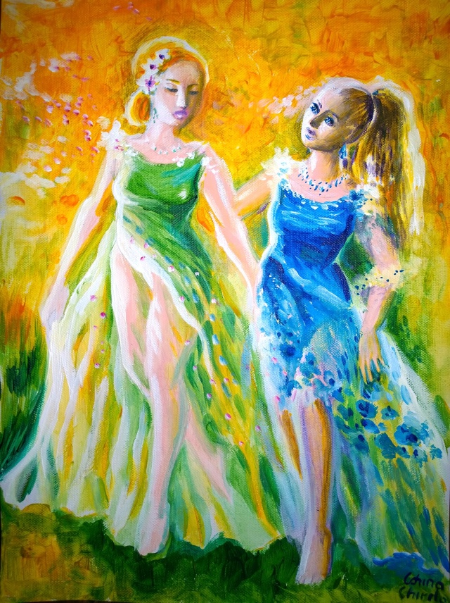 A romantic story with two princesses in love painting - Poveste cu doua printese indragostite pictura
