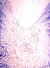 Giganta rosie, galaxie si cometa, desen facut cu pixul