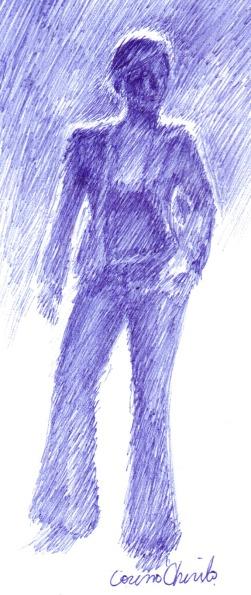 Iubita mea asteptandu-ma pe mine desen facut cu pixul
