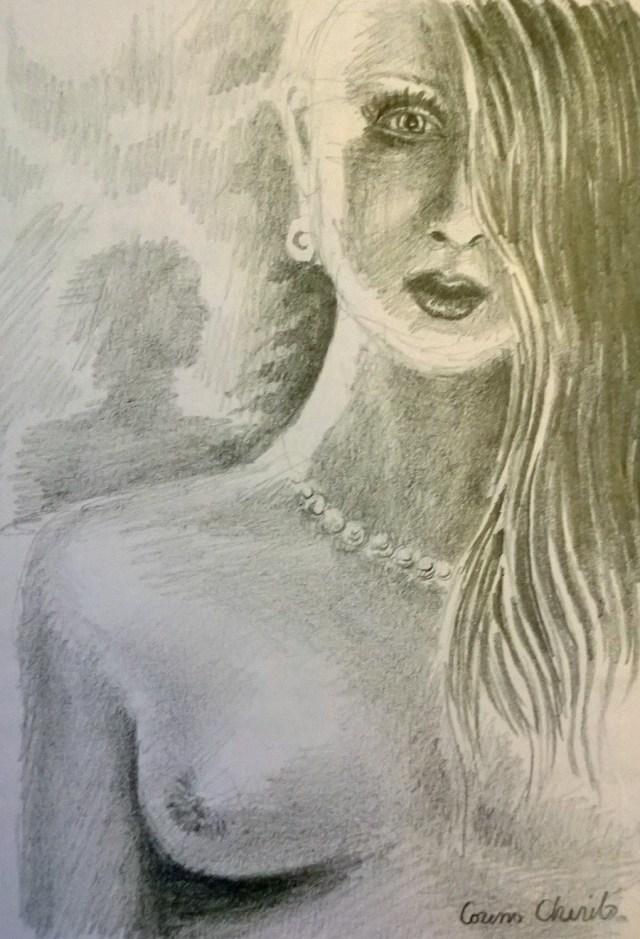 Portret de femeie cu sanii goi desenat in creion