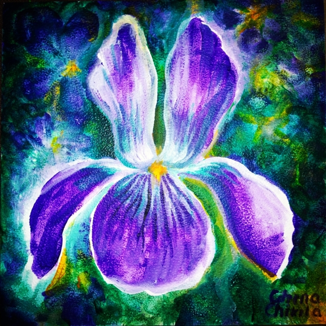 Viola sororia floral painting