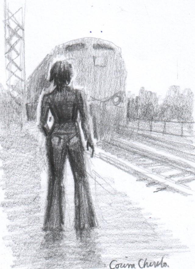 Femeie pe peron in gara desen in creion