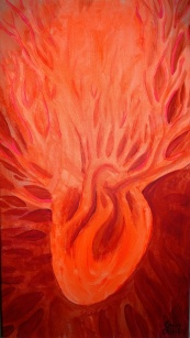 Heart red fluorescent painting