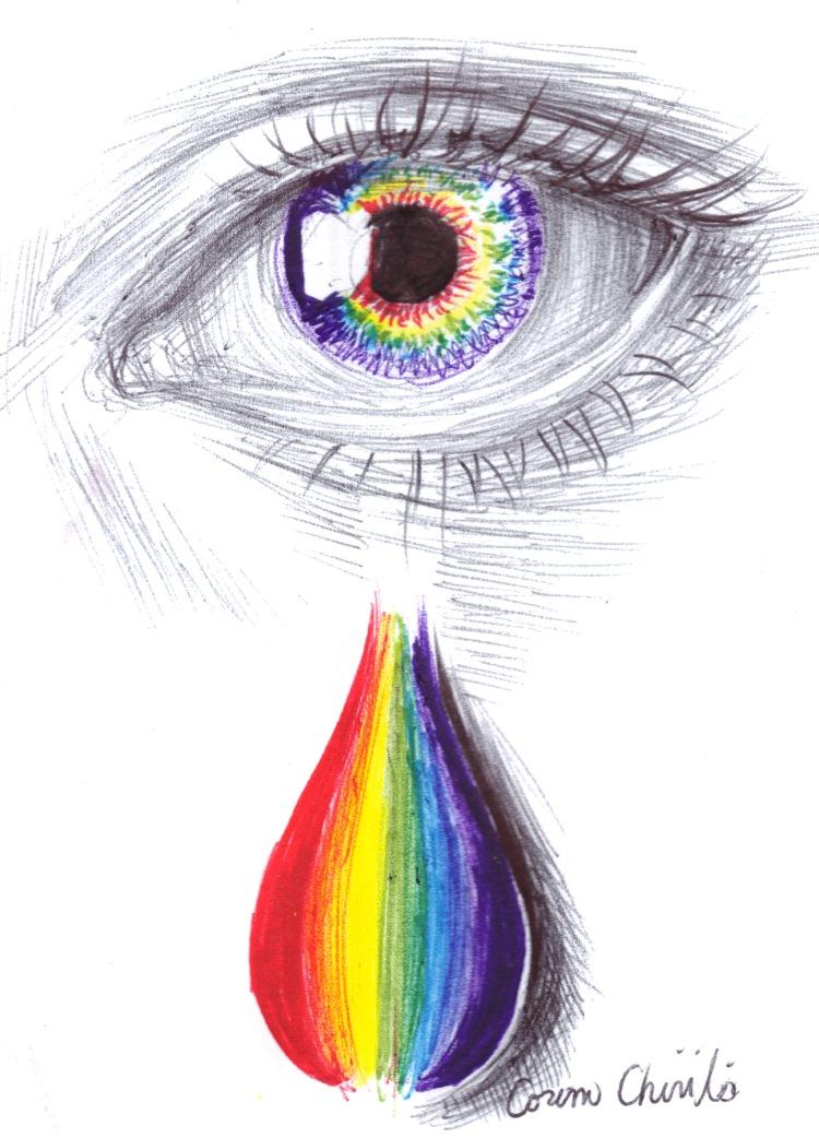 Rainbow tears drawing - Lacrimi in culori de curcubeu desen in pix