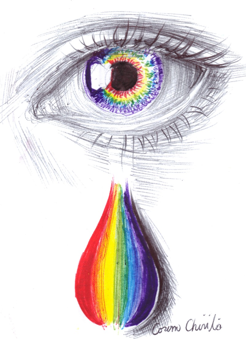 Rainbow tears drawing - Lacrimi in culori de curcubeu desen in pix