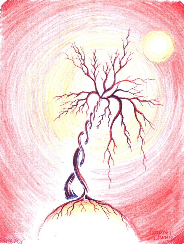 The tree and the sun of life drawing - Arborele si soarele vietii desen