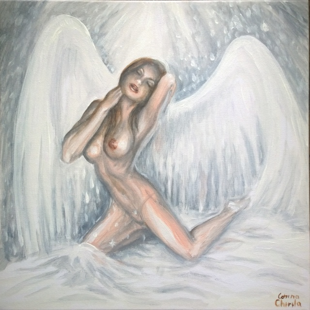 White pure angel painting - ingerul pictura