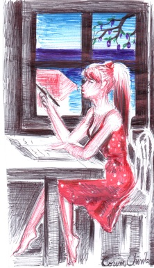 A girl is writing her diary watching the sea - O fata isi scrie jurnalul privind marea