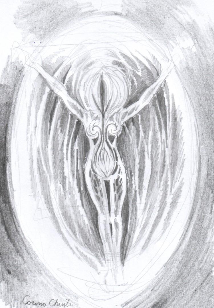 Desen in creion despre viata si maternitate