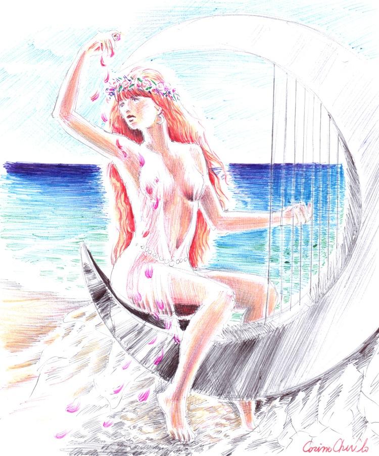 O fata cantand la harpa pe malul marii desen facut cu pixul
