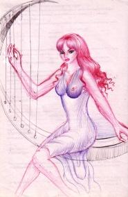Poeta Sappho cantand la harpa