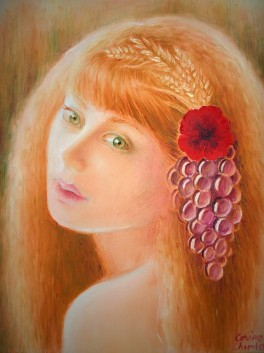 Portretul zeitei Demetra, pictura ulei pe panza