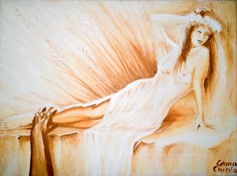 Rapirea zeitei Kore din mitologia greaca pictura de vara in ulei pe panza