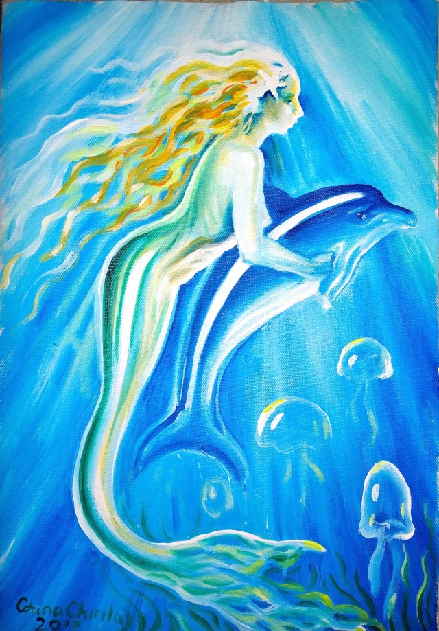 Sirena si delfin pictura - Mermaid and dolphin painting