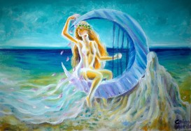 Una dintre ucenicele poetei Sappho cantand pe malul marii
