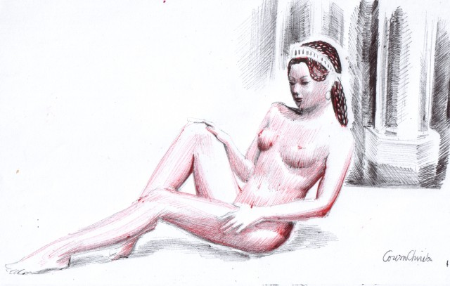 A kore or a maiden in the ancient temple of love drawing - O fecioara in templu dese in pix