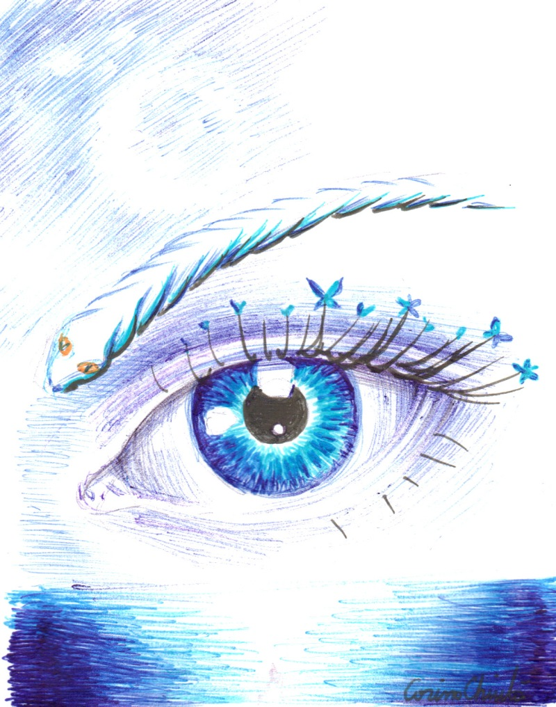 blue eye in the sky ball point pen drawing