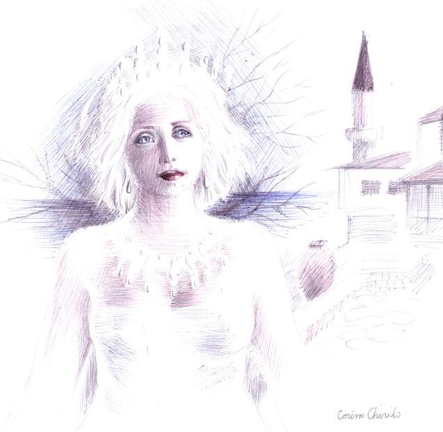 Regina Maria la Balcic, locul care o inspira, desen facut cu pixul