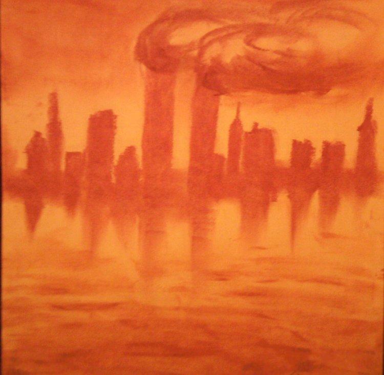 11 septembrie - desen facut cu ruj