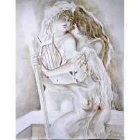 Poetele Corinna, Erinna si Sappho din Grecia antica, pictura facuta cu cafea