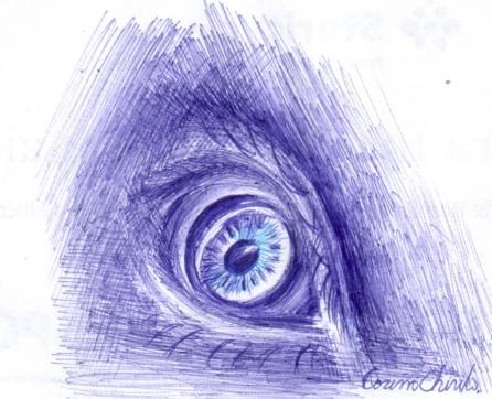 ball point pen drawing of an eye