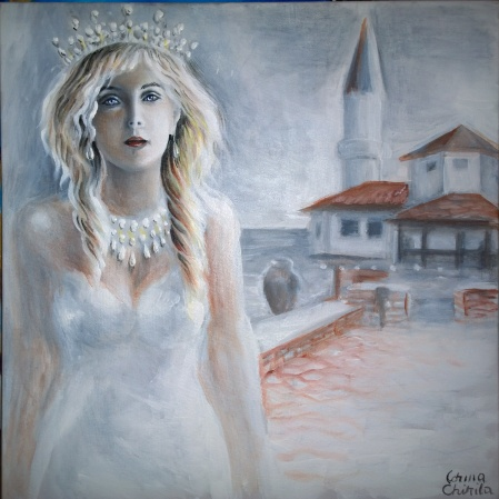 Regina Maria alaturi de castelul de la Balcic, pictura acrilice pe panza