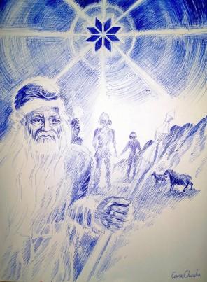 Pastorii si steaua nordului sau colul morii desen in pix