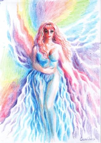 Zana primaverii cu rochia ei albastra si curcubeul in jurul ei, desen