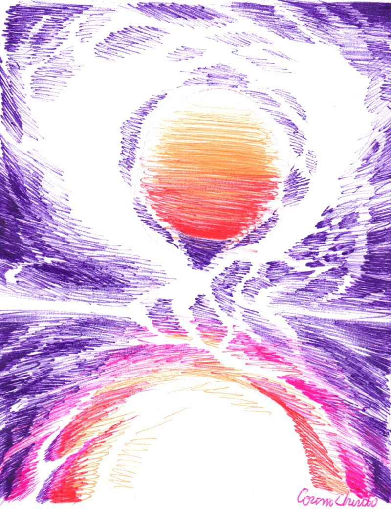 Embracing the sun abstract ball point pen drawing