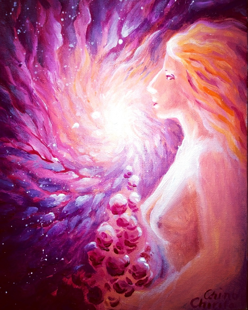 Woman with rosesc and pink galaxy painting - Femeie cu trandafiri si galaxie pictura