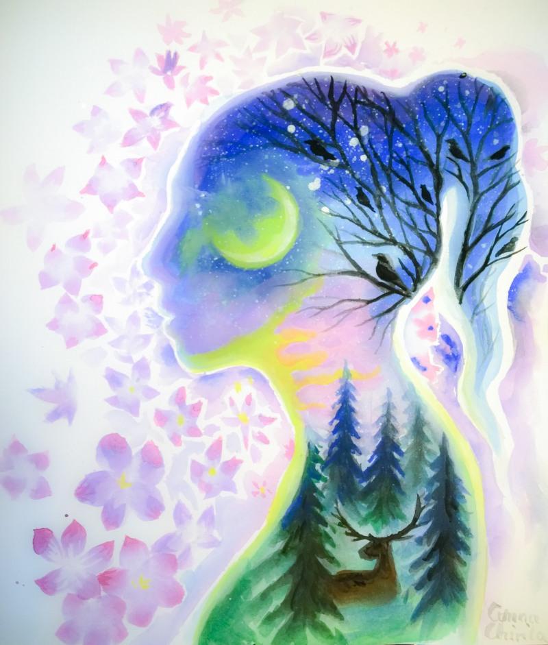 Lumea interioara pictura acuarela - Inner world watercolor painting