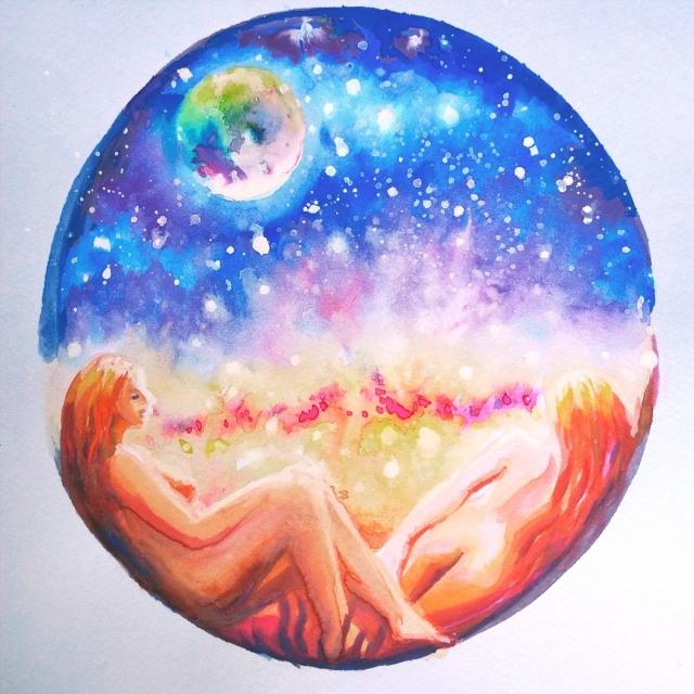 Eu cu iubita mea impreuna in univesul nostru - Me and my love in our universe watercolor painting