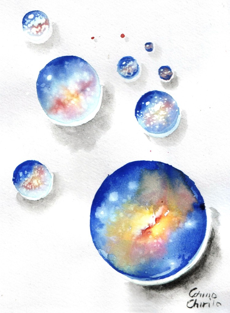 Multiverse watercolor painting- Multivers sau universuri paralele acuarela