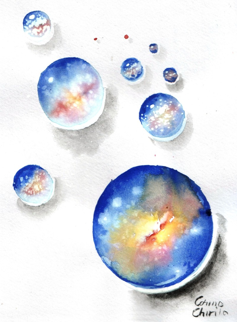 Multiverse watercolor painting- Multivers sau universuri paralele acuarela