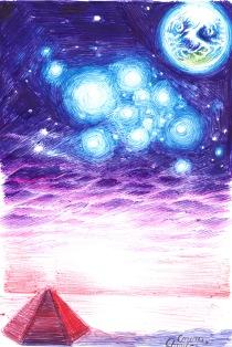 Alien dreamscape with pyramid - Peisaj de pe Alta planeta cu piramida
