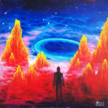 Alien mountains and star dust ring - Peisaj de pe alta planeta cu munti de foc vulcani si inel de praf cosmic