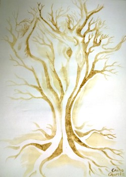 Arborele iubirii pictura facuta cu cafea - The tree of love coffee painting