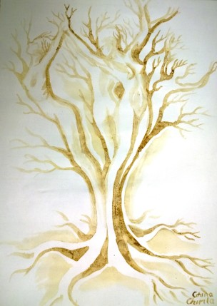Arborele iubirii pictura facuta cu cafea - The tree of love coffee painting