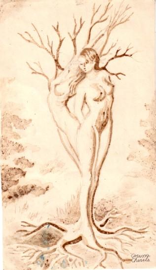 Arborerele iubirii copac antropomorf pictat cu cafea