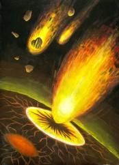 asteroizi cazand pe o planeta