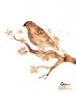 Bird coffee painting - pasarica pictata cu cafea