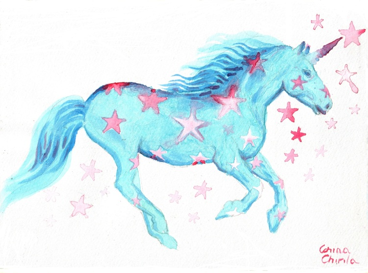 Blue unicorn with pink stars watercolor painting